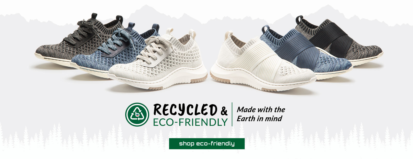Recycled & eco-friendly. Made with the Earth in mind. Featured styles: Eco-Friendly Onie in white, blue and black. Eco-Friendly Ocean in white, blue and black. Shop Eco-Friendly.