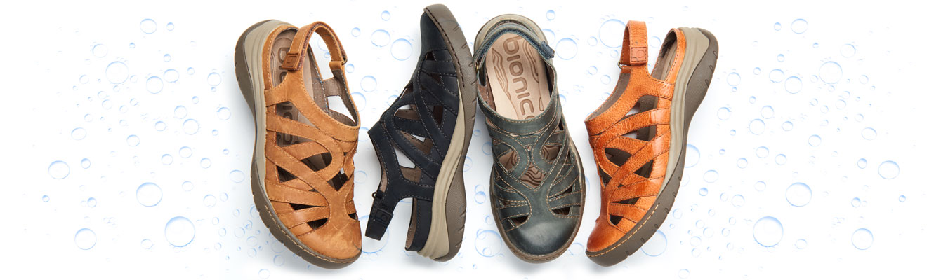 Featured style: Water-Friendly Wira in almond, black, jeans, and orange.