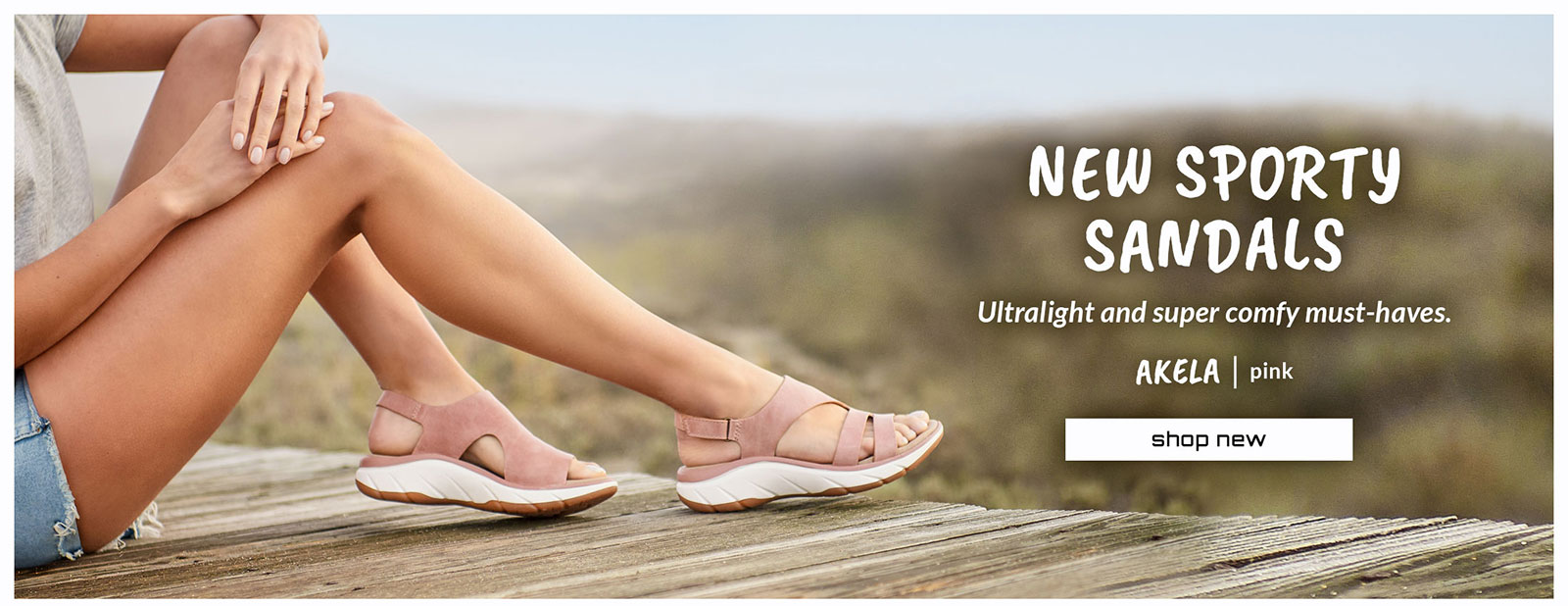 New sporty sandals. Ultralight and super comfy must-haves. Featured style: Akela sandal in pink. Shop new.