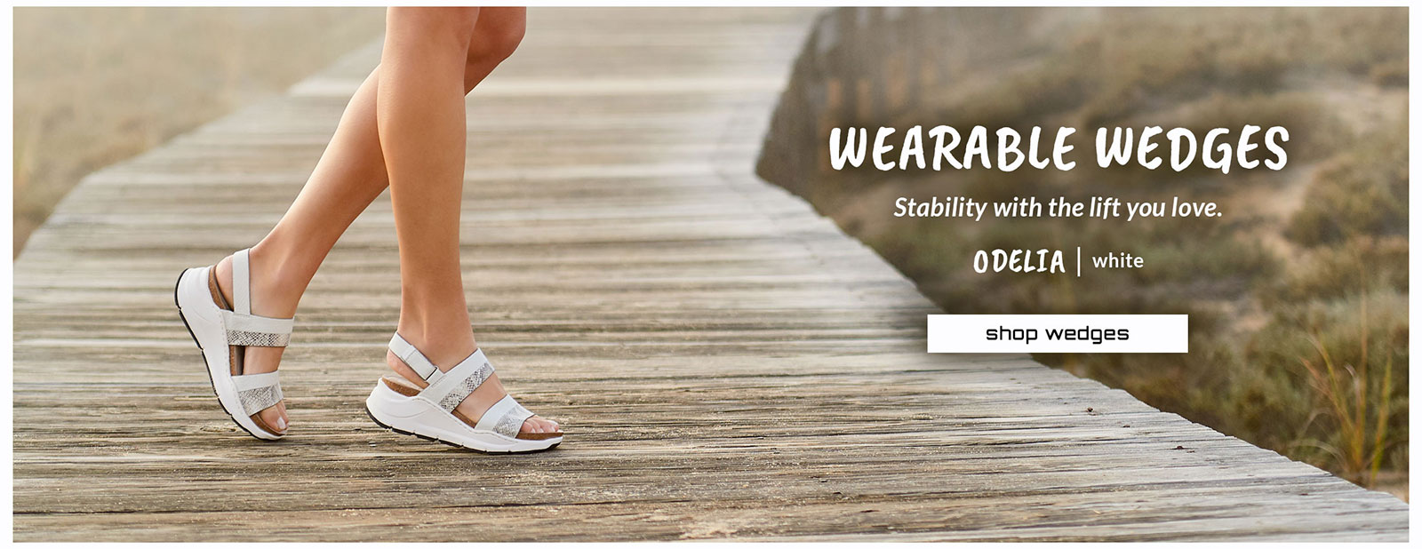Wearable wedges. Stability with the lift you love. Featured style: Odelia sandal in white. shop wedges.