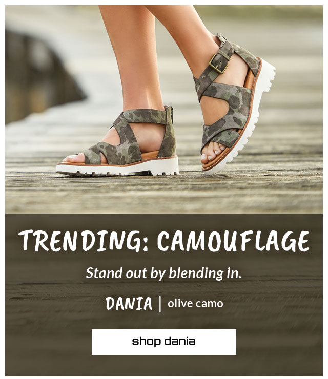 Trending: Camouflage. Stand out by blending in. Featured styles: Dania sandal in olive camo. Shop Dania.