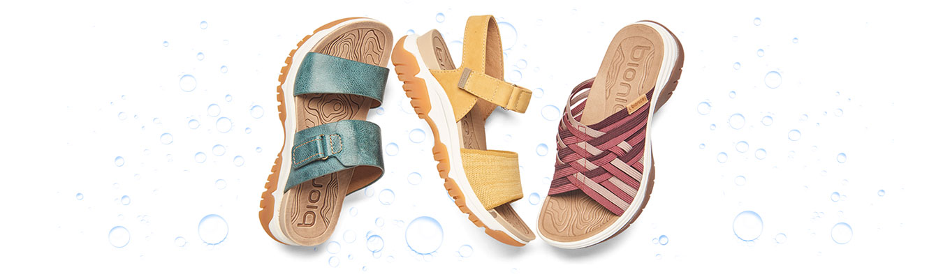 Featured style: Water-Friendly Nisha sandal in Teal, Nacola sandal in ochre yellow heathered, Naiding sandal in wistful mauve multi.