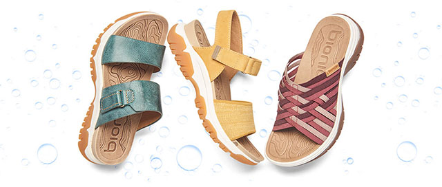 Featured style: Water-Friendly Nisha sandal in Teal, Nacola sandal in ochre yellow heathered, Naiding sandal in wistful mauve multi