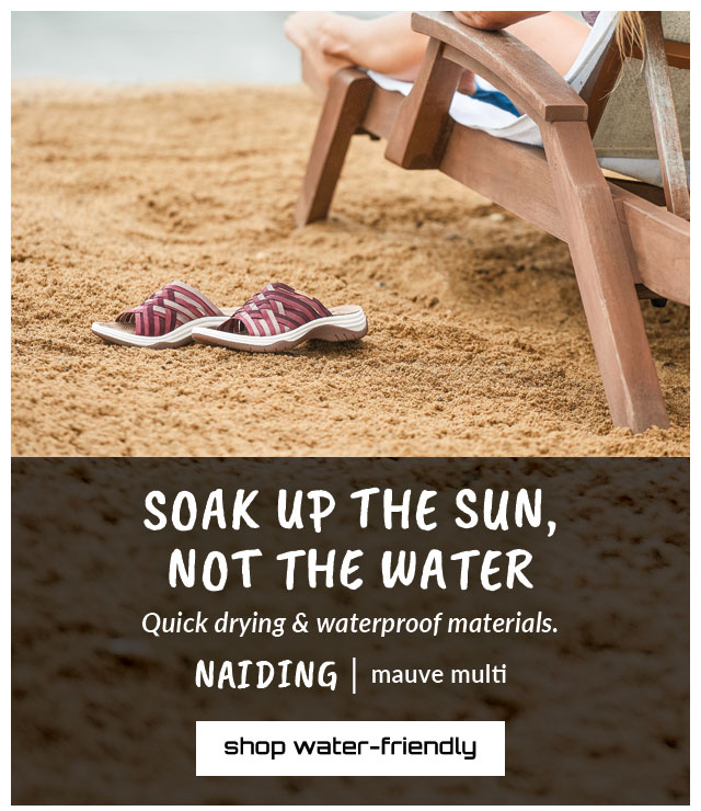 Soak up the sun, not the water. Quick drying & waterproof materials. Featured style: Naiding sandal in mauve multi. Shop water-Friendly.
