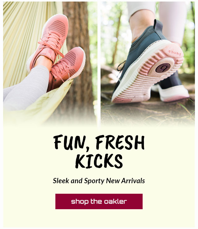 Fun, Fresh Kicks. Sleek and Sporty New Arrivals. Featured style: Oakler sneaker in pink and blue. Shop the Oakler.