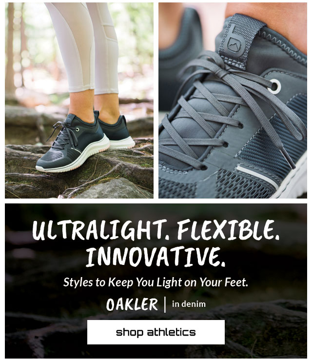 Ultralight. Flexible. Innovative. Styles to Keep You Light on Your Feet. Featured style: OAKLER in blue. Shop Athletics.