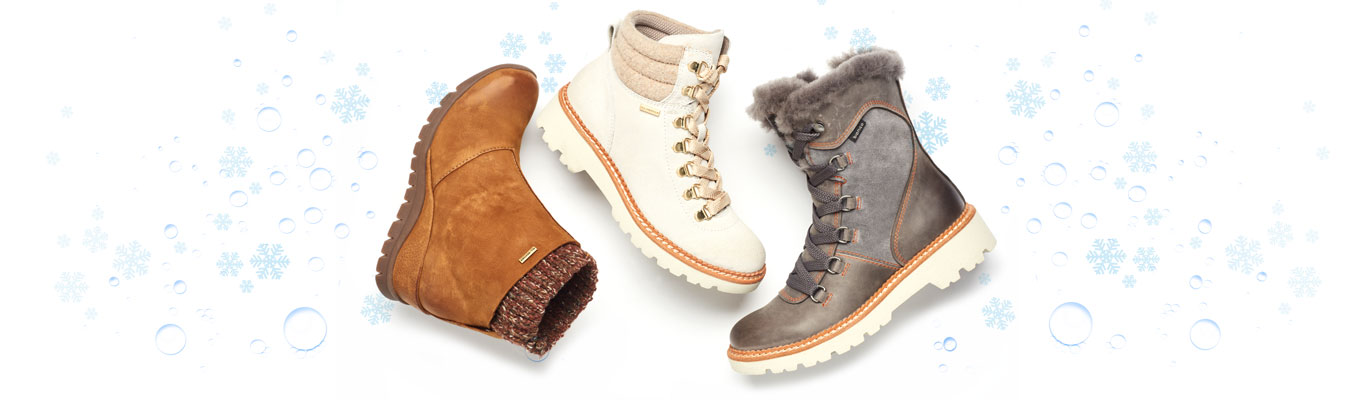 Featured Styles: Ocava boot in tan, Dezi boot in white, Demee boot in grey