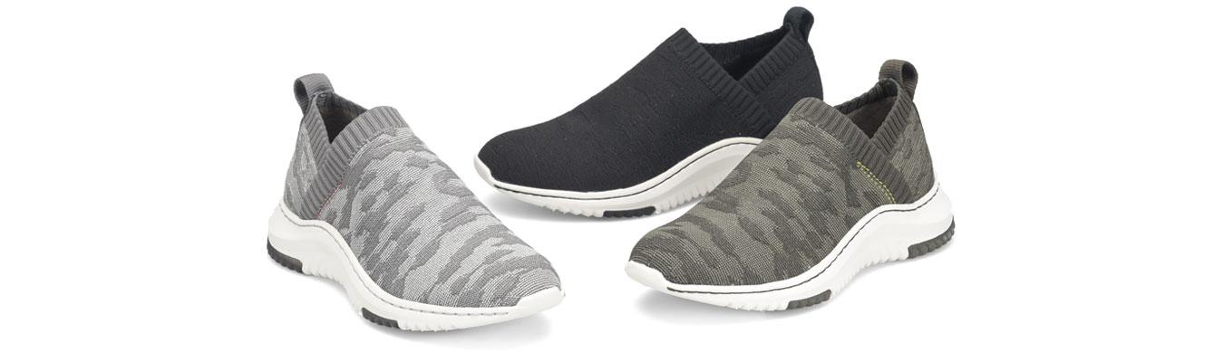 Featured Styles: Odea sneaker in grey, Odea sneaker in black, Odea Sneaker in olive.