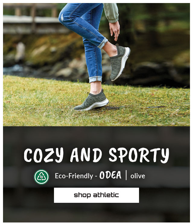 Cozy and sporty. Featured style: Eco-Friendly Odea sneaker in Olive. Shop Athletic.