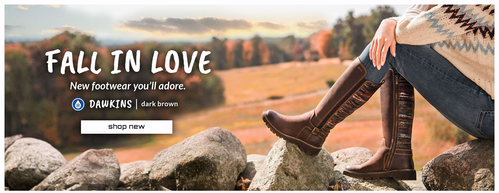 Fall in love. New footwear you'll adore. Featured style: All-Weather Dawkins in dark brown. Shop New.